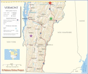 The Vermont Spring Swim Tour Map! Red Star - Lake Memphremagog, Green Star - Joe's Pond, Purple Star - Lake Dunmore