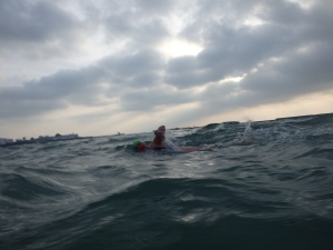 Deb testing the English Channel waters...